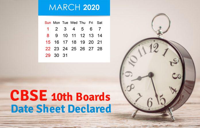 Class 10 Board Exams Date Sheet